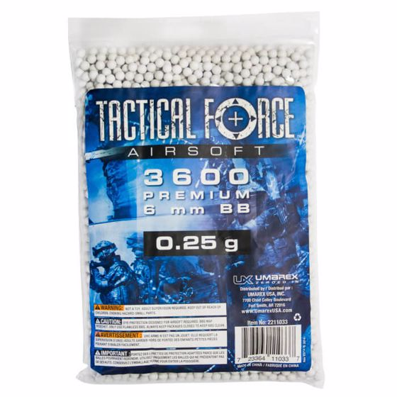 Picture of TACTICAL FORCE AIRSOFT .25G PREMIUM 6MM QTY 3600 BAG WHITE